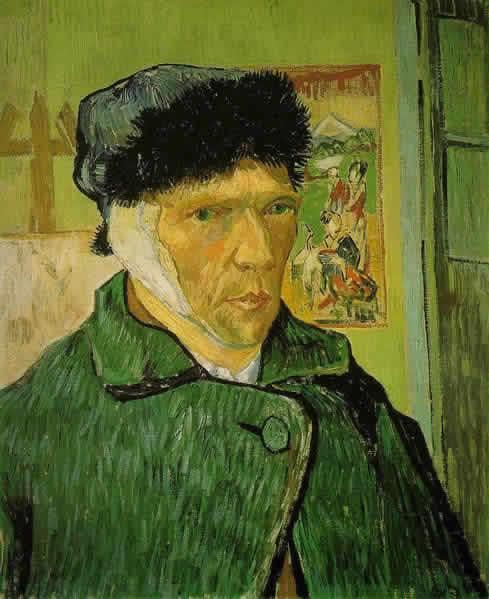 「包帯をした自画像」は、ポスト印象派の代表的画家ゴッホ(Vincent van  Gogh)による1889年の作品。南仏アルル在住時にいわゆる「耳切り事件」の直後に描かれたものだ