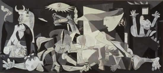 パリでゲルニカ空爆(1937年4月26日)の一報を受けたピカソ は、パリ万国博覧会のスペイン館で展示される予定の壁画を製作していたが、急きょテーマを変更してゲルニカ