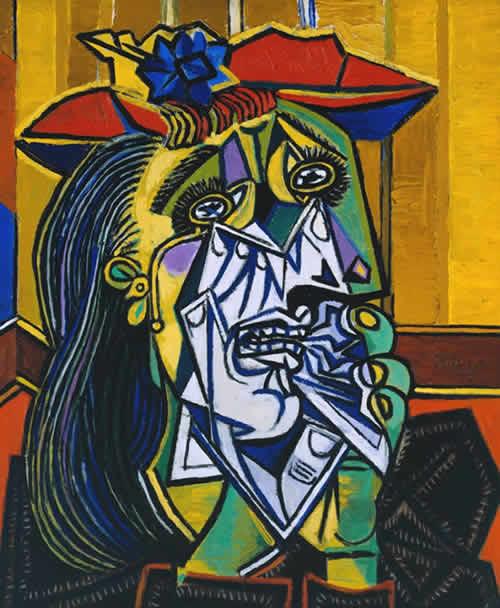 ピカソ「泣く女」は愛人ドラ・マールをモデルとした絵画作品で、ゲルニカと同年の1937年に複数点制作された。